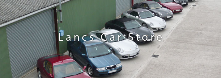 Skoda and Porsche cars in storage